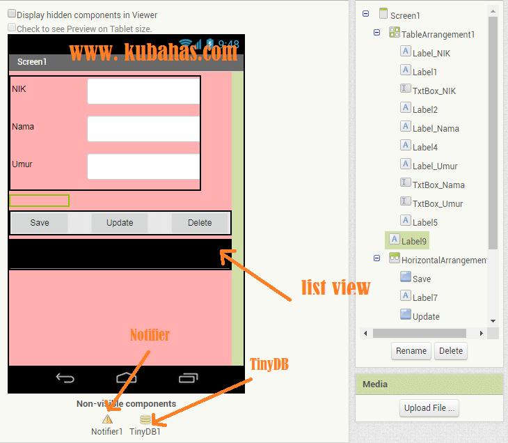 Desain Aplikasi CRUD TinyDB App Inventor
