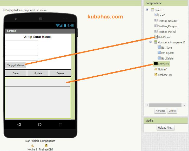Desain aplikasi CRUD firebase App inventor atau Kodular