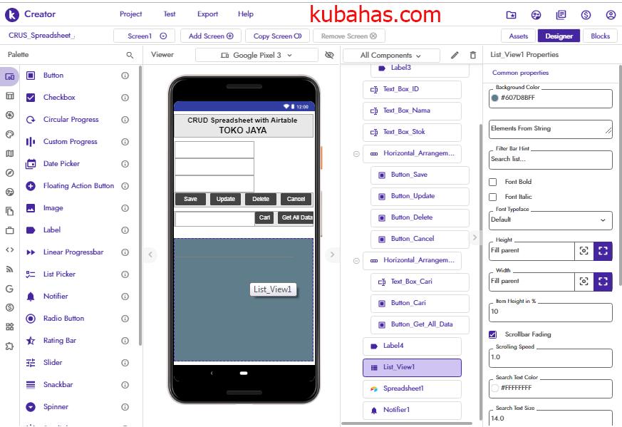 Desain aplikasi simpan data ke Spreadsheet Airtable Kodular