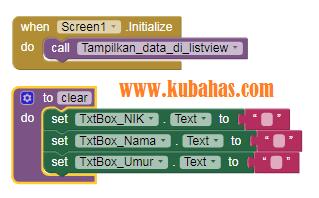 Kode Program Inisialisasi CRUD TinyDB App Inventor