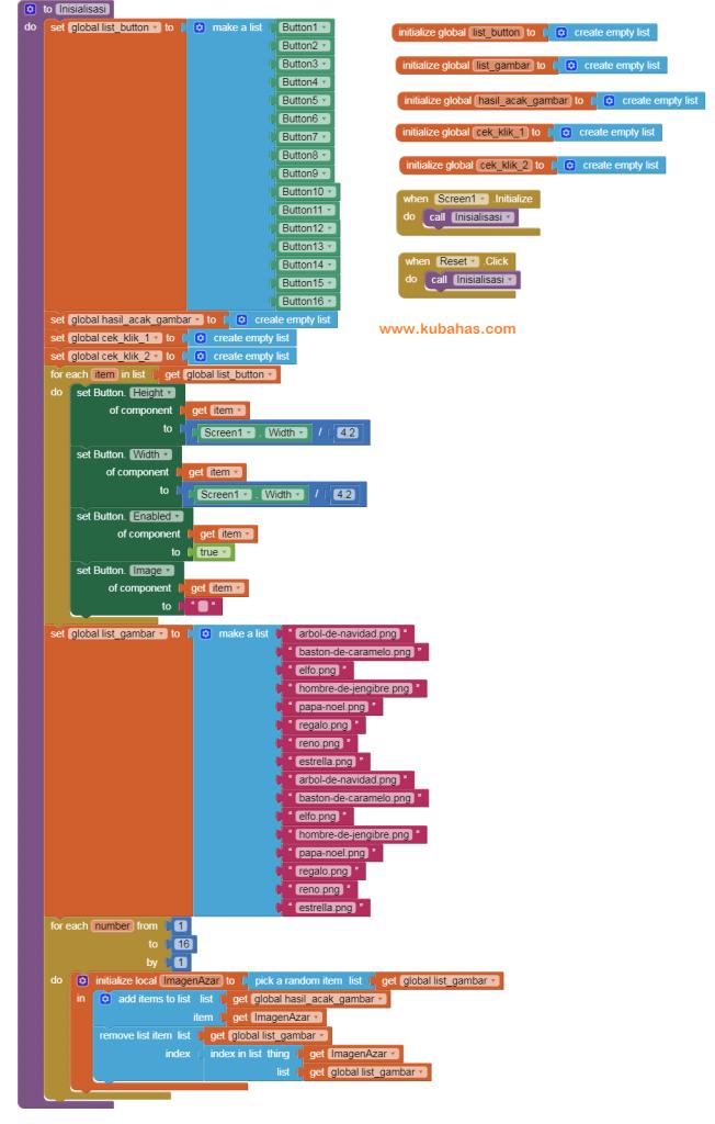 Kode Program Inisialisasi untuk membuat game di App Inventor dan Kodular