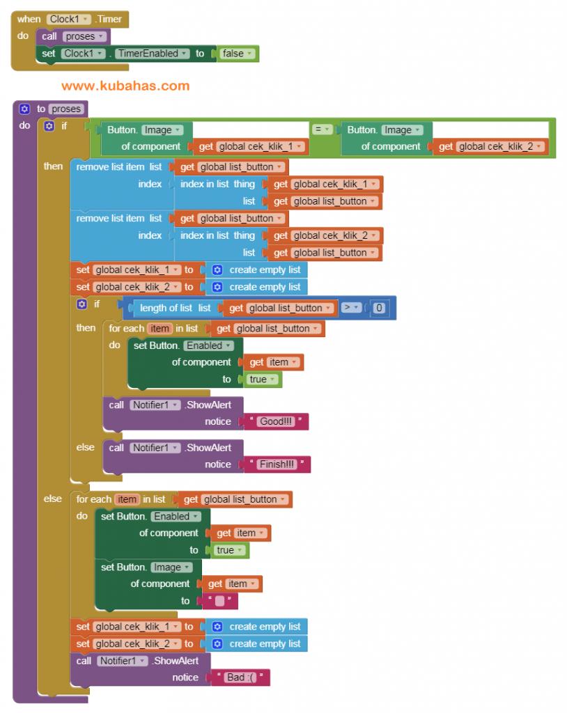 Kode Program Timer dan Proses untuk membuat game dengan App Inventor dan Kodular