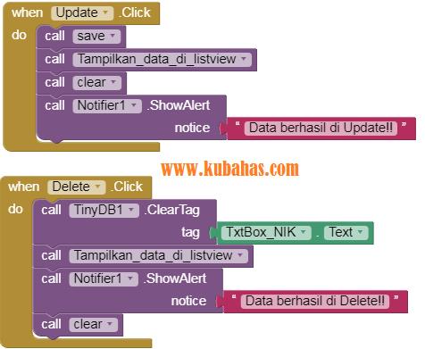 Kode Program Update dan Delete CRUD TinyDB App Inventor