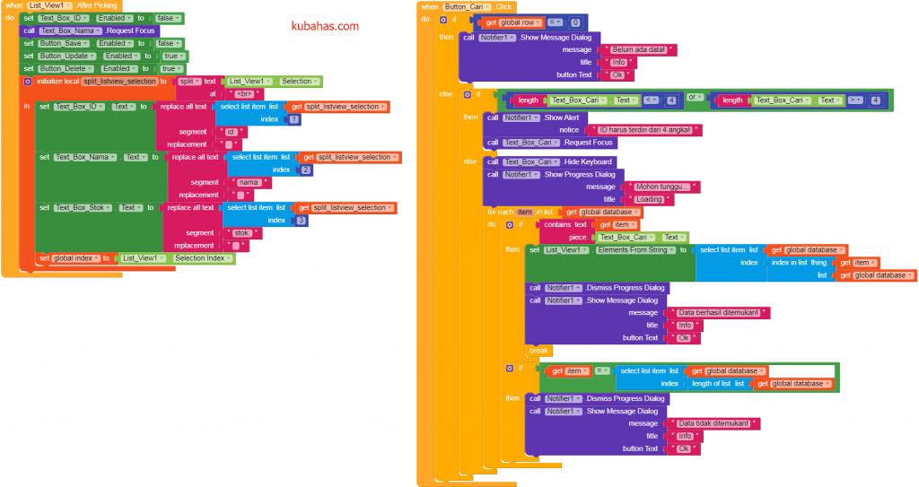 Kode program mencari data dan menampilkan data listview ke TexBox