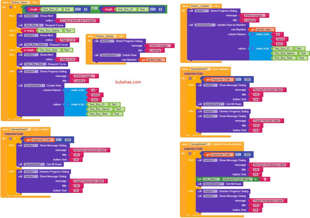 Kode program save, update, delete data Spreadsheet Airtable
