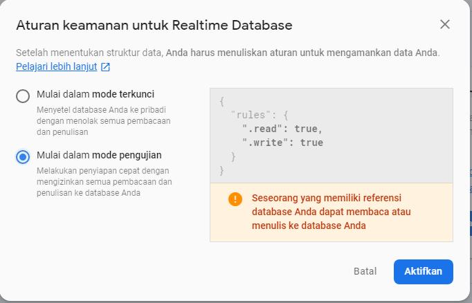 aturan keamanan untuk Realtime Database