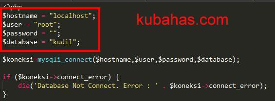 file koneksi untuk untuk menghubungkan aplikasi dengan database
