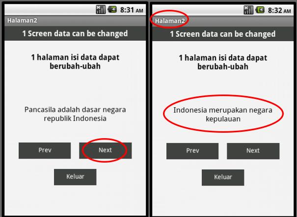 hasil program satu screen menampilkan banyak data