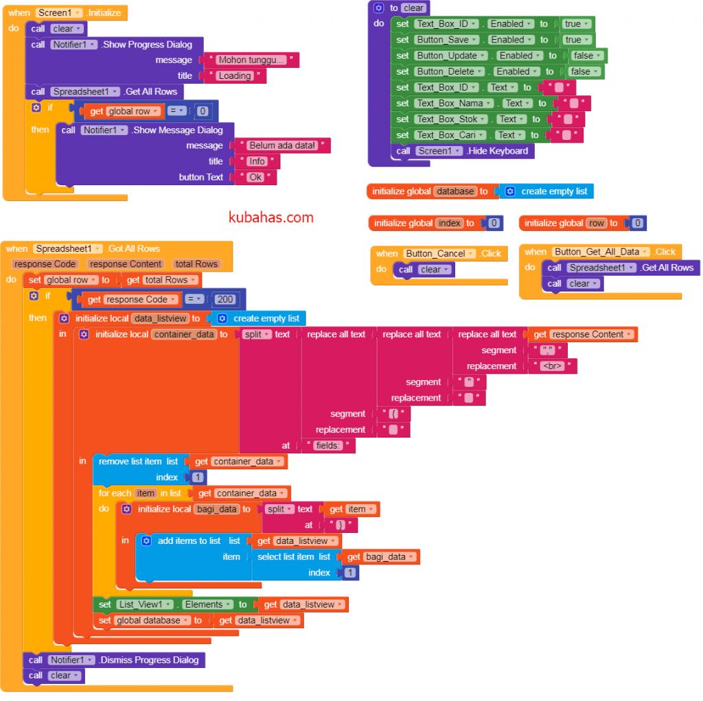 kode program awalan menyimpan data ke spreadsheet airtable kodular