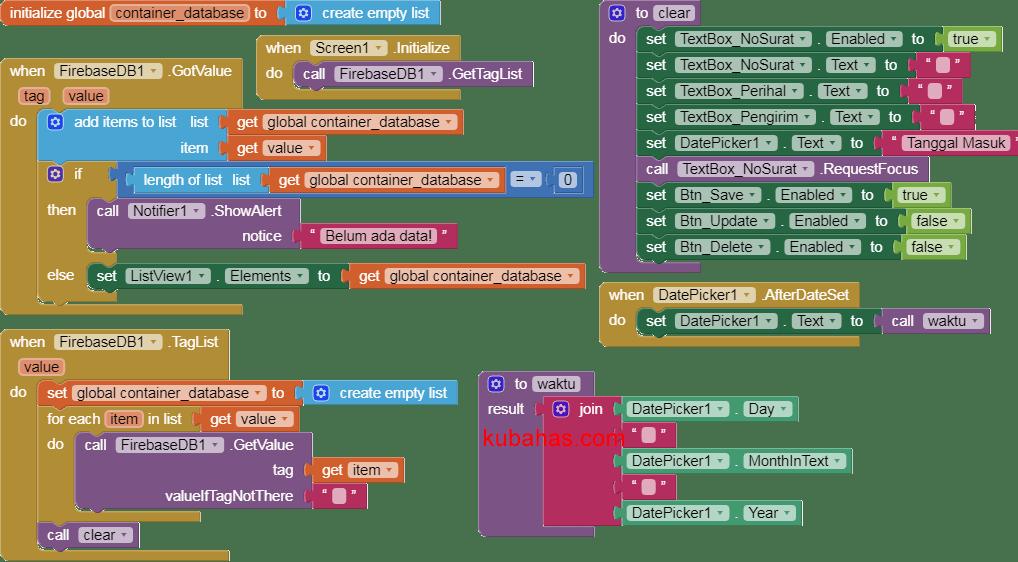 kode program inisialisasi CRUD firebase
