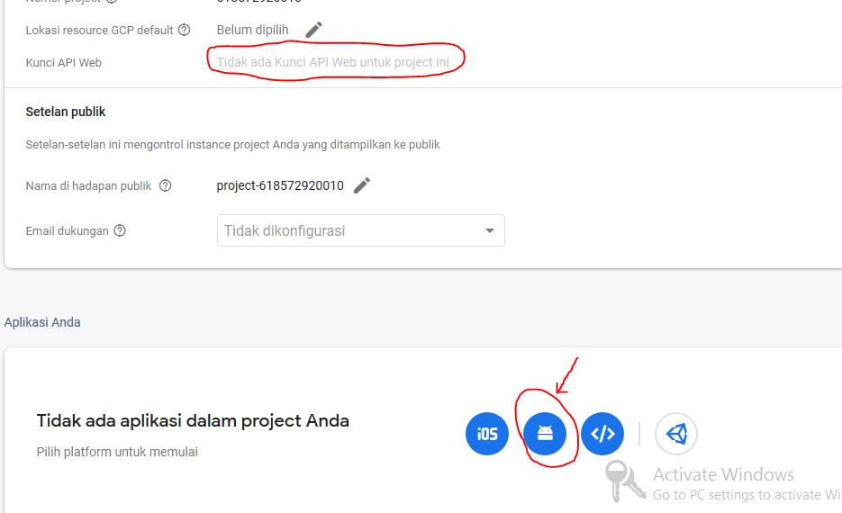 tambahkan aplikasi ke dalam project firebase