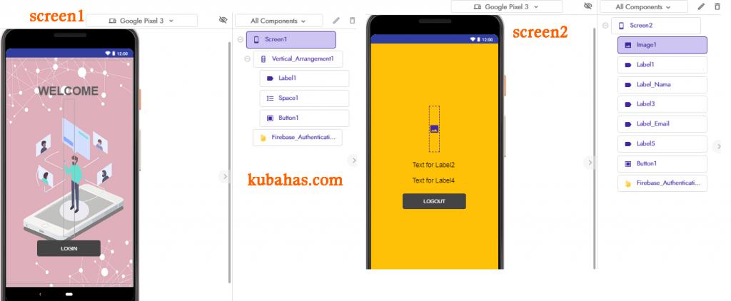Desain aplikasi authentication firebase kodular