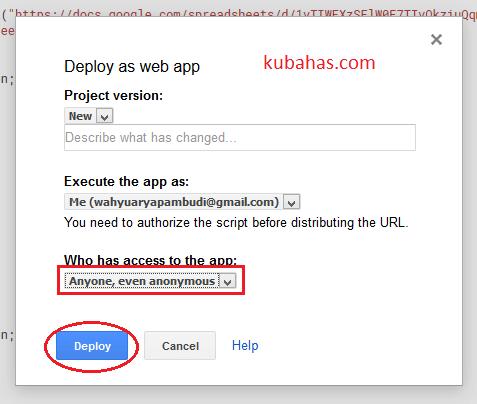 Terapkan kode google apps script sebagai aplikasi web