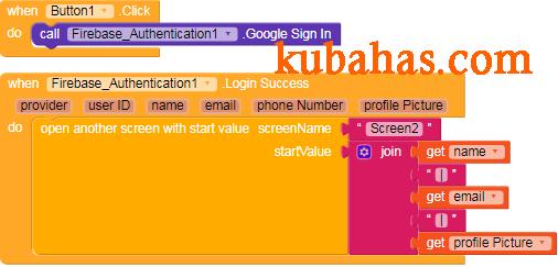 kode program login with google firebase authentication kodular