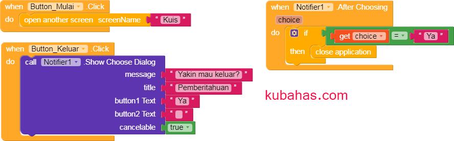 Block program tampilan Home QuizApp App Inventor Kodular