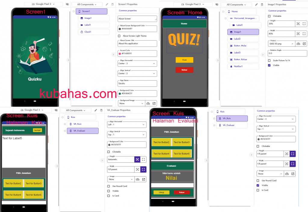 Desain App Quiz App Inventor dan Kodular