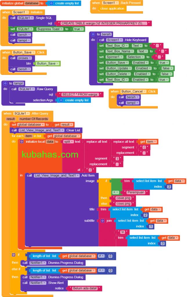kode awalan program dan menampilkan data ke listview SQLite Kodular