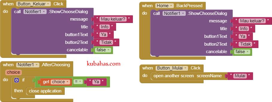 Block program aplikasi pembelajaran app inventor pada Screen Home