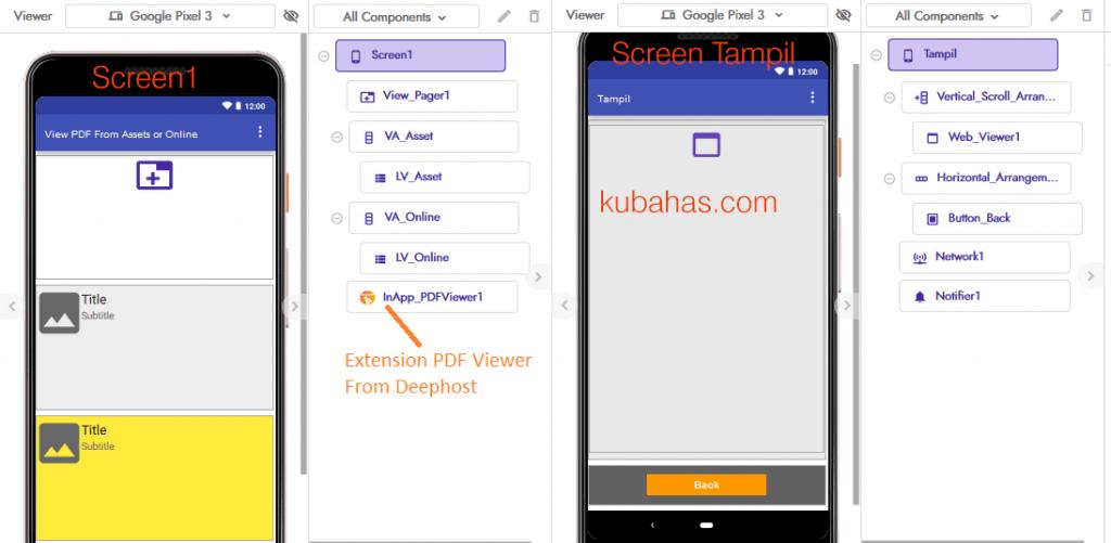desain aplikasi pdf viewer online offline kodular