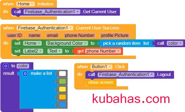 kode program untuk menampilkan nomor telepon pengguna yang berhasil masuk