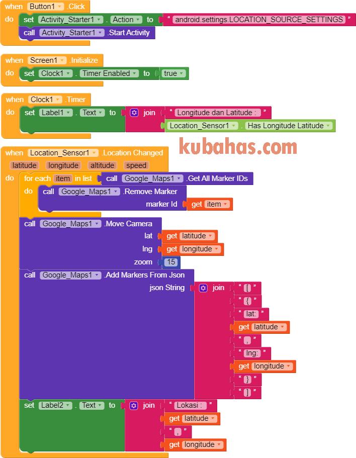 blok program aplikasi maps sederhana app inventor kodular