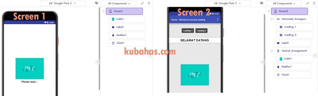 desain aplikasi animasi loading process kodular