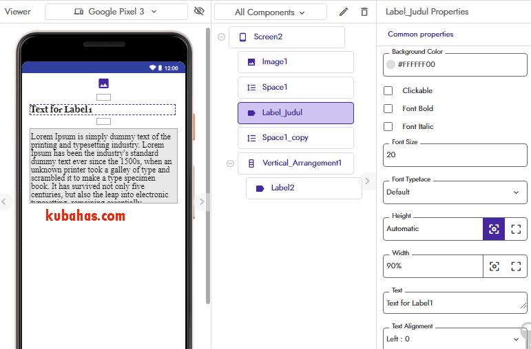 desain screen2 tampilan listview custom dynamic component