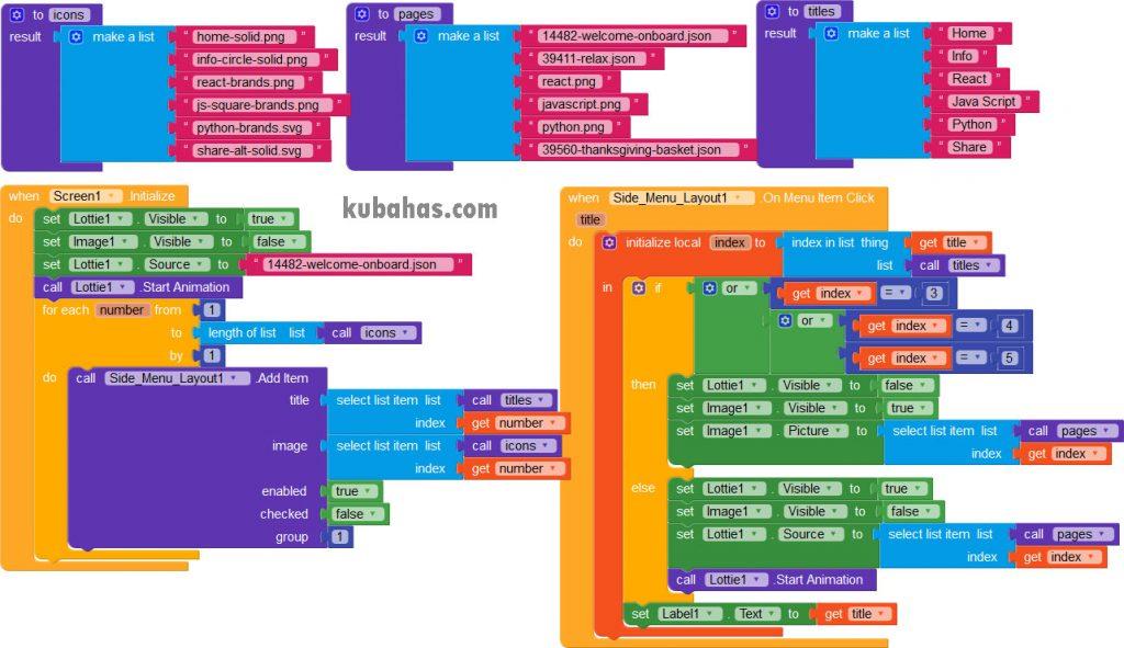 blok program side menu bar kodular