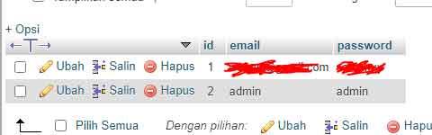 tabel user untuk auto login