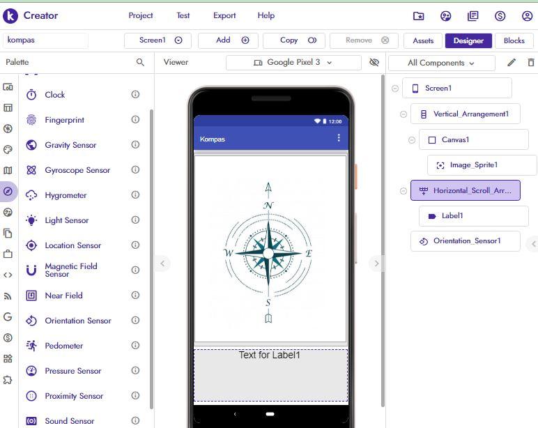 desain aplikasi kompas