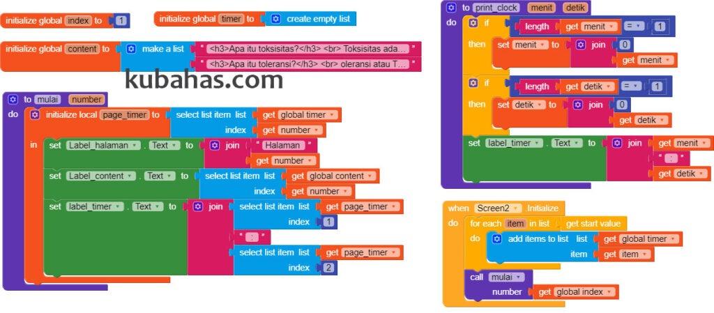 block program inisiasi aplikasi count down pada screen2