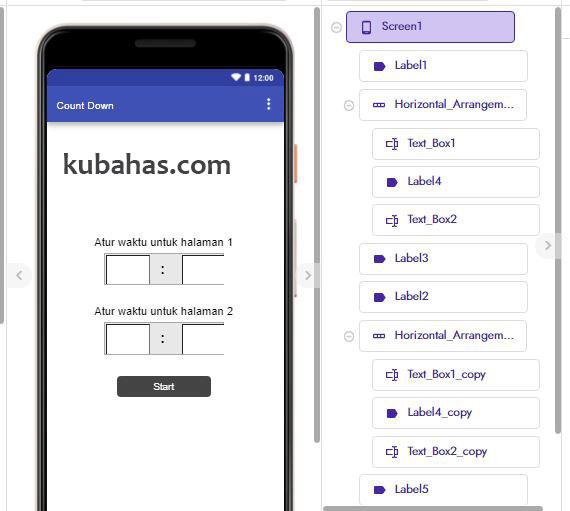 desain aplikasi count down pada screen1
