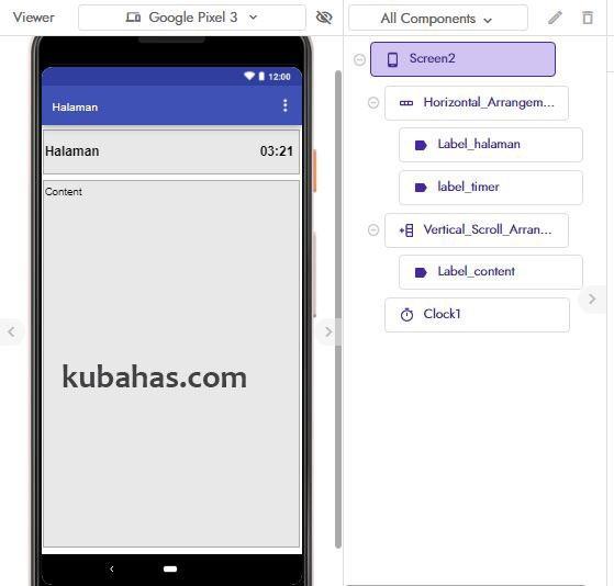 desain aplikasi count down pada screen2